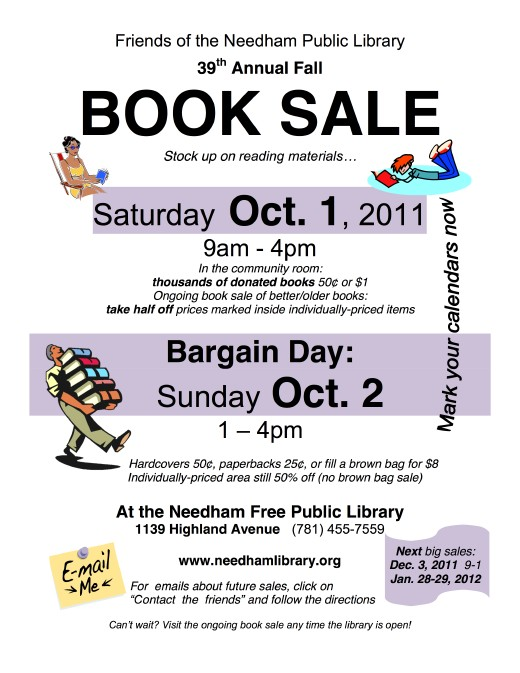 Book Sale Poster, October, 2011